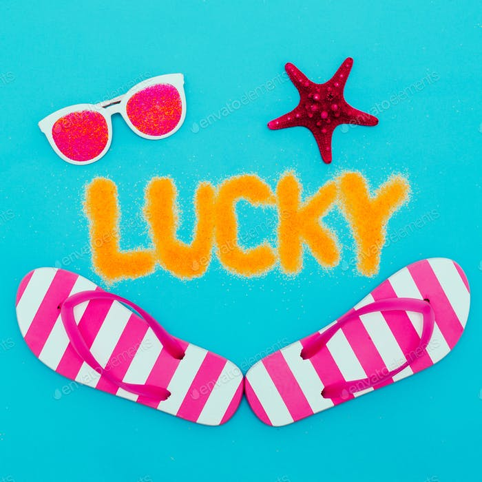 Beach Lucky minimal art set vacation