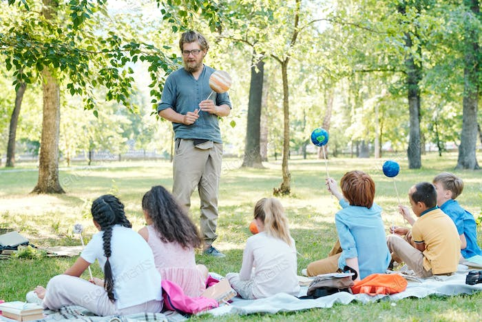 Astronomy lesson outdoors