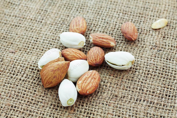 almonds on sackcloth