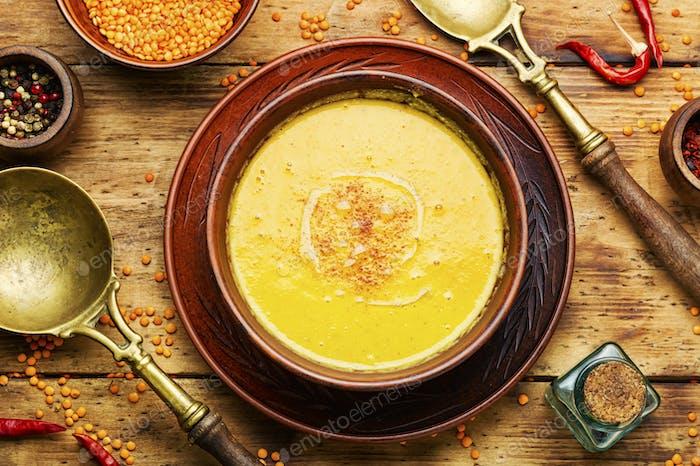Rustic soup with lentils