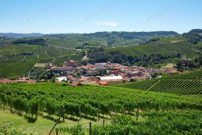 Barolo medieval town on Langhe hills in Italy, vineyards view