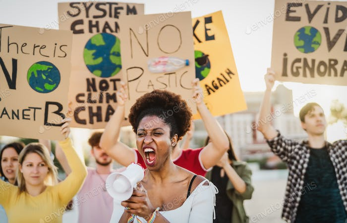 Demonstrators group protesting against plastic pollution and climate change