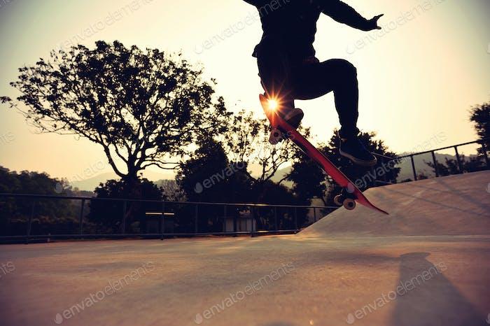 skateboarding at sunrise skatepark