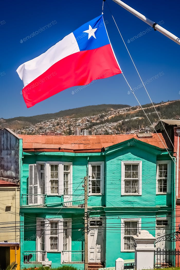 Chilean flag fluttering on a mast in Valparaiso