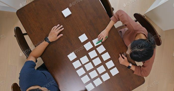 Draufsicht eines Paares diskutieren auf Memopapier auf dem Tisch