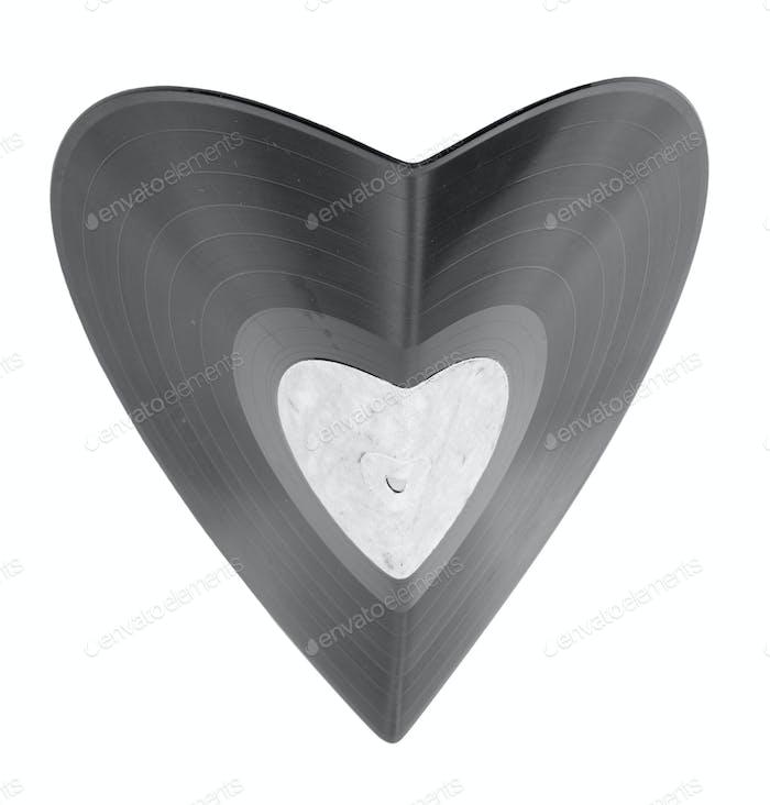 Bent Vinyl Schallplatte in Form von Herz