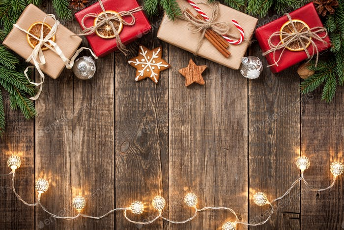Christmas decoration background with gift boxes