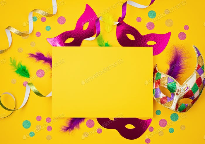Festive, colorful mardi gras or carnivale mask and accessories. Party invitation, greeting card
