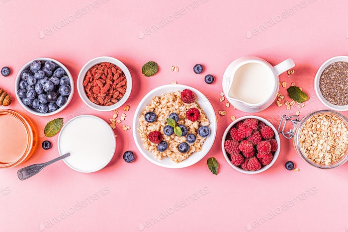 Breakfast, oatmeal with berries.