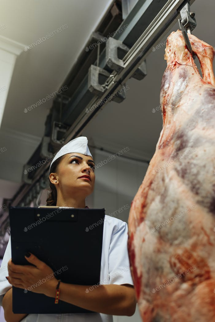 Meat quality control in butchery.