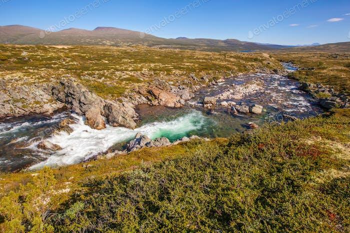 landscape Norway mountains Dovrefjell river