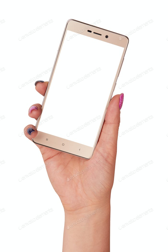 gold smartphone isolated