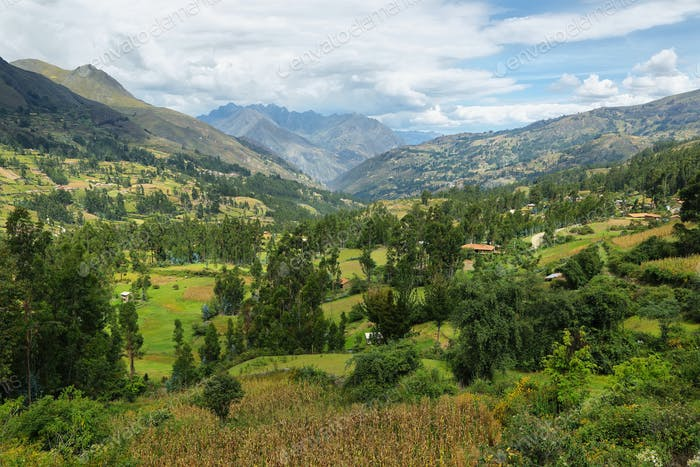 View of fields and mountains on the way to Chavin de Huantar