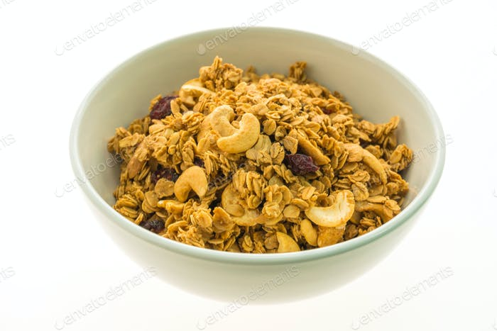 Granola in white bowl