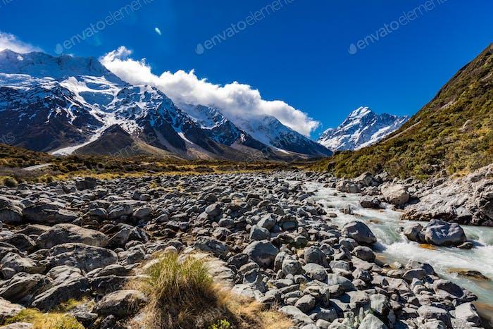 Hooker Valley Track in Aoraki National Park, New Zealand, South
