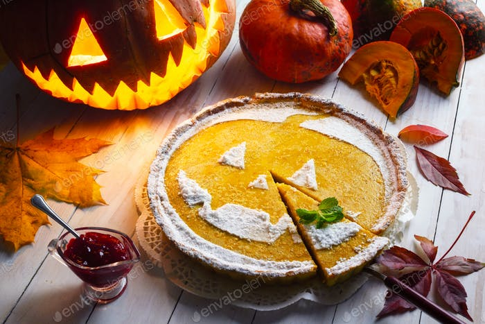 Delicious homemade pie for halloween