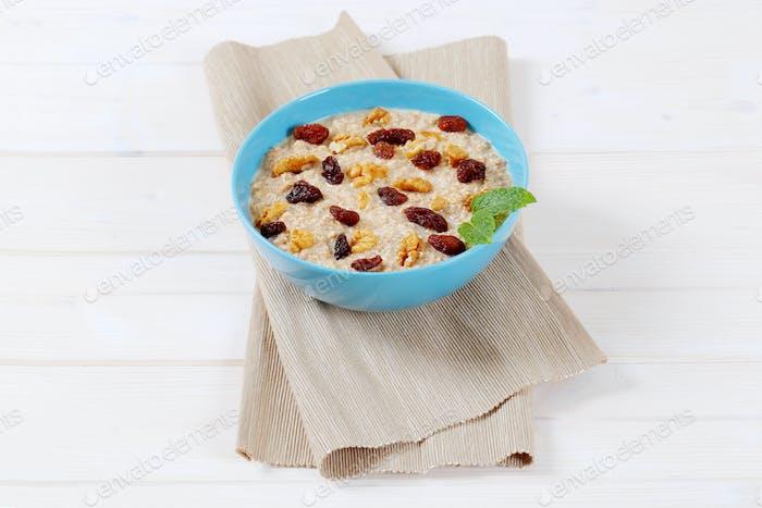 tazón de gachas de avena