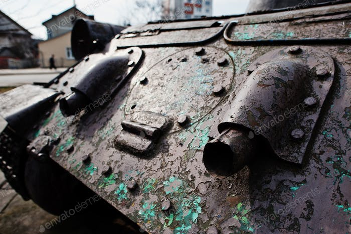 Exhaust of old vintage military tank.