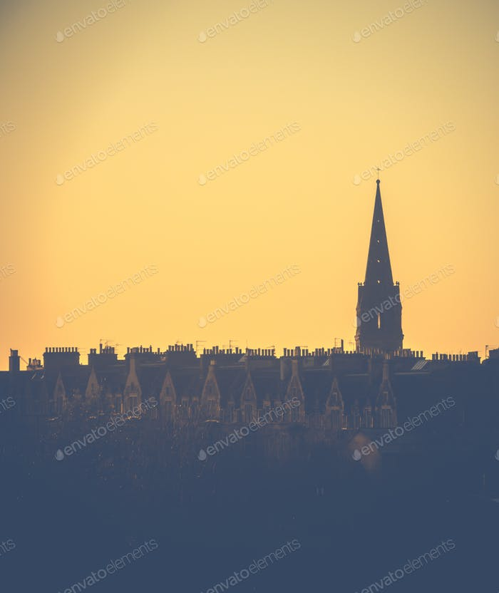 Edinburgh Tenements At Sunset
