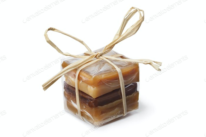 Package with a variation of sweet caramel bonbons
