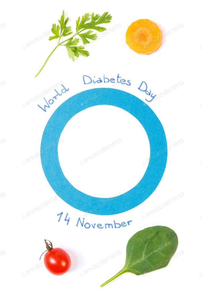 Blue circle as symbol of fighting diabetes and fresh vegetables