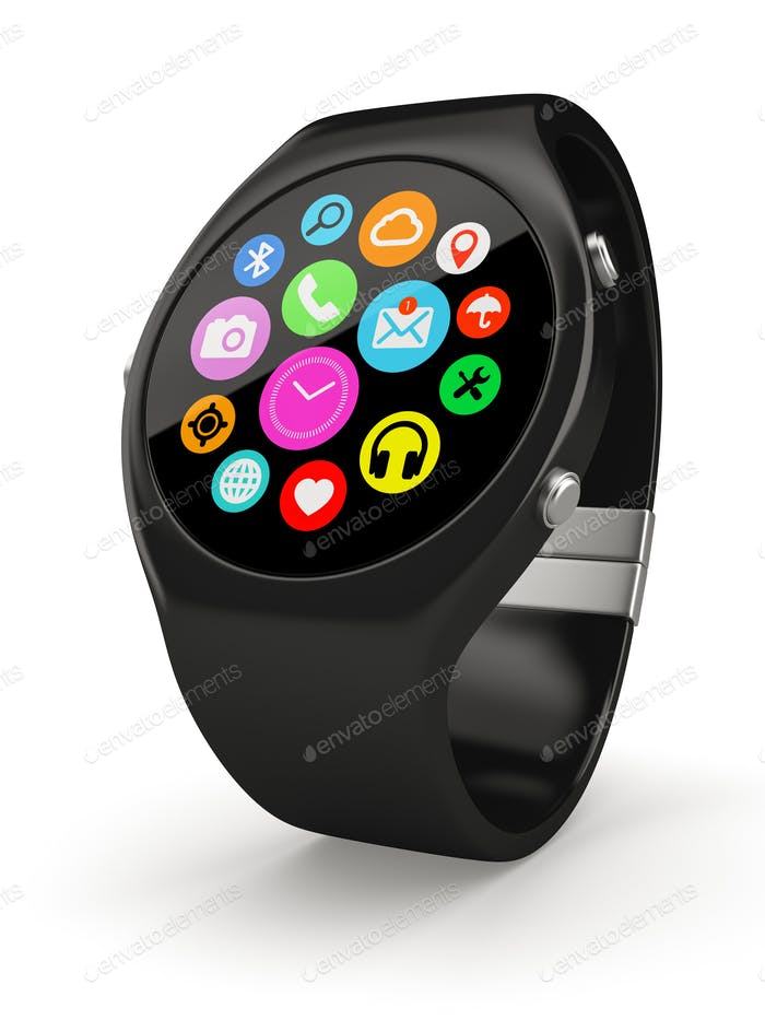 Black round smart watch on white background