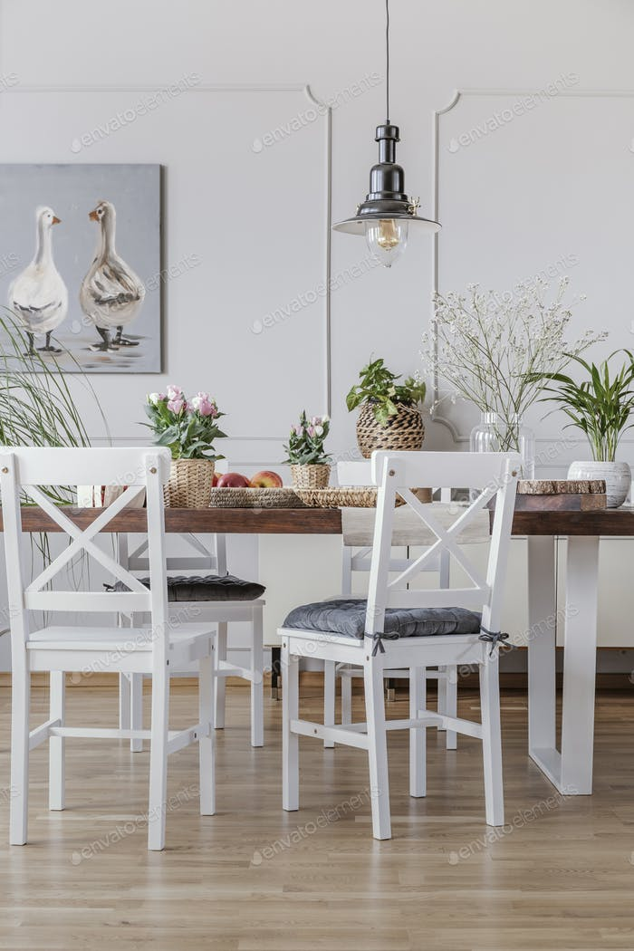 White chairs at wooden table in cottage dining room interior wit