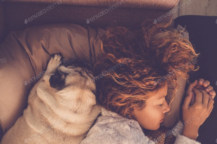 friendship concepts for 40s woman sleeping with her best friends dogs