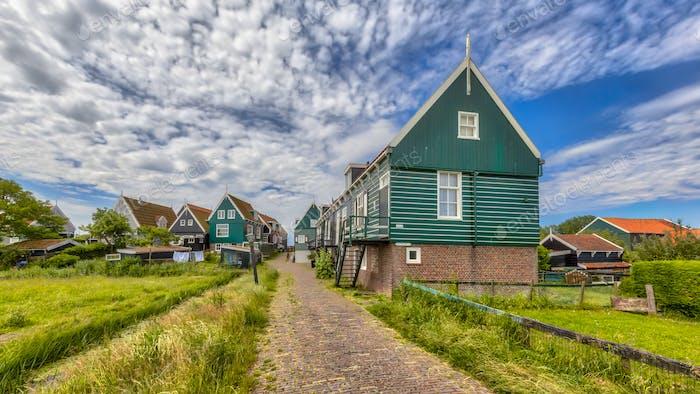 typical fisherman village houses in Marken island
