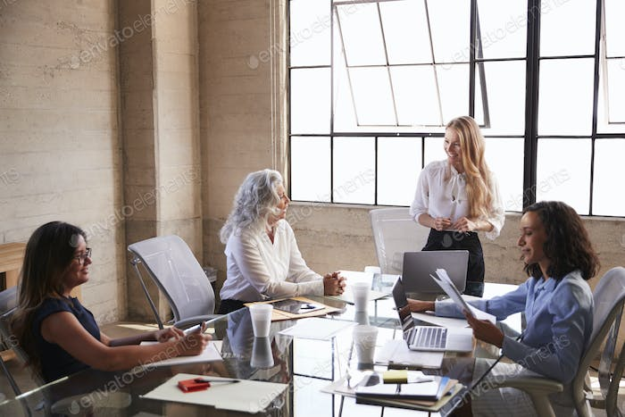Businesswoman stands addressing female colleagues in meeting