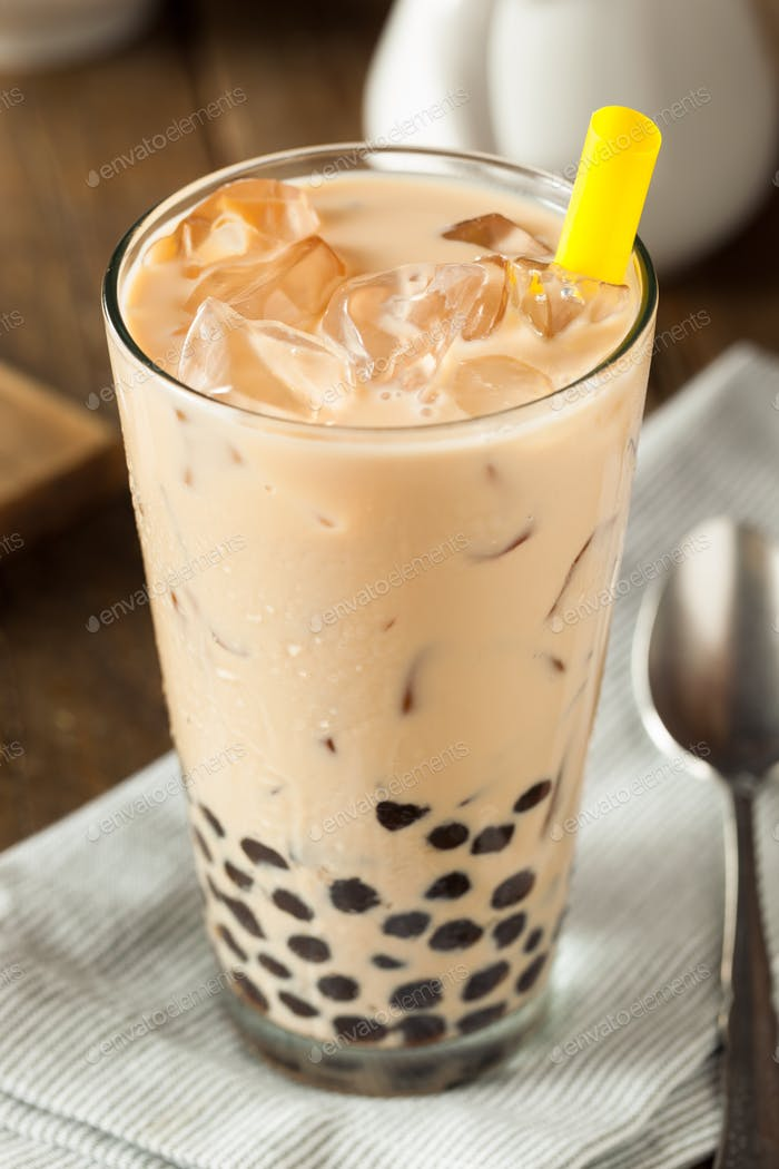 Homemade Milk Bubble Tea with Tapioca