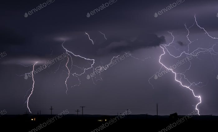 Large lightning strike at dusk on Tornado Alley