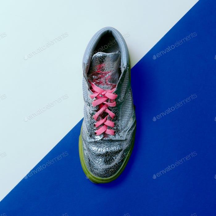 Silver Disco style. Trendy sneakers. minimal design