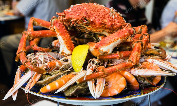 atlantic crab on seafood plate in local restaurant