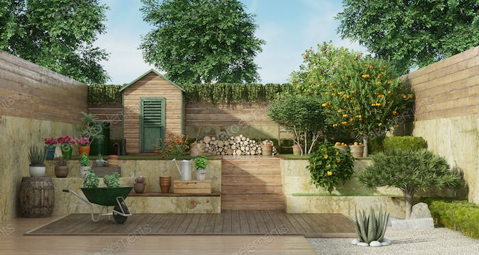 Garden on two levels with wooden shed and fruit tree