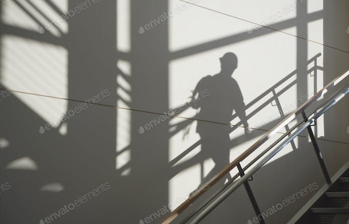 Workers Shadow in a Stairwell