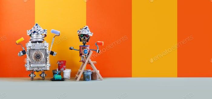 Две забавные механические игрушки художников с росписью роликов, деревянной лестницей и ведрами.