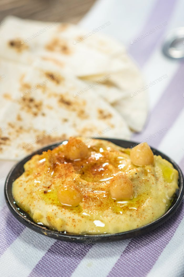 Homemade hummus with chickpeas