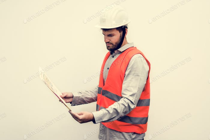 Contractor in a safety vest