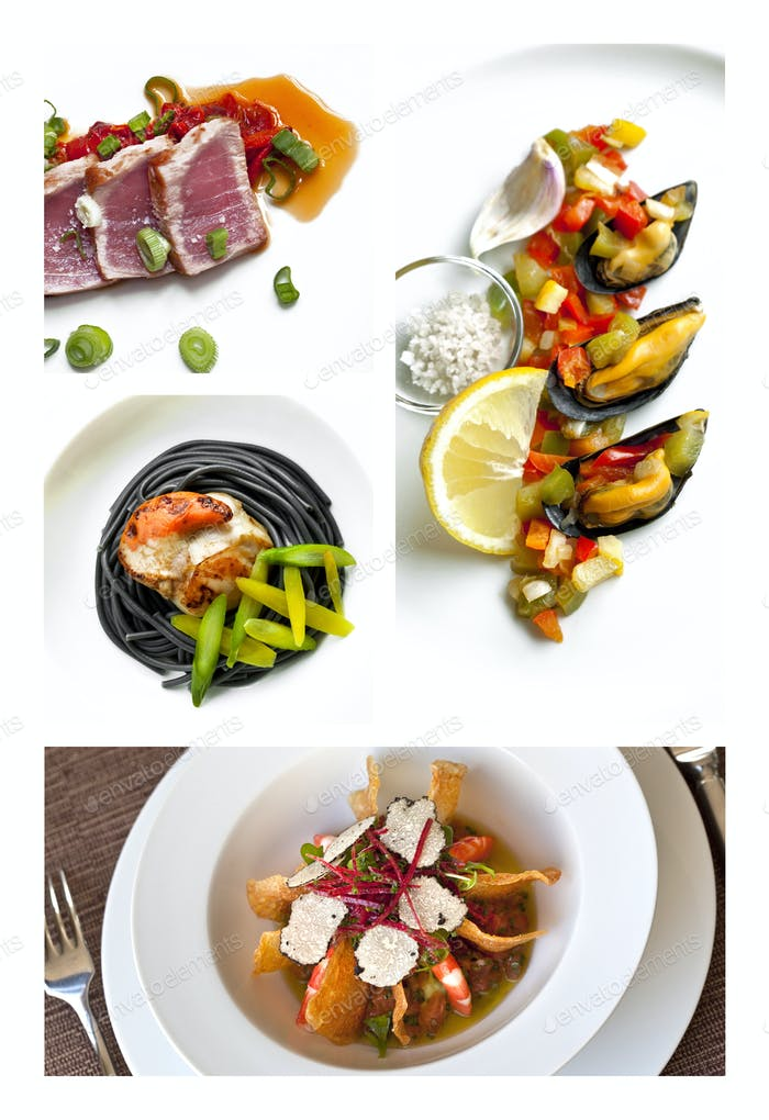 Collage of sea food plates