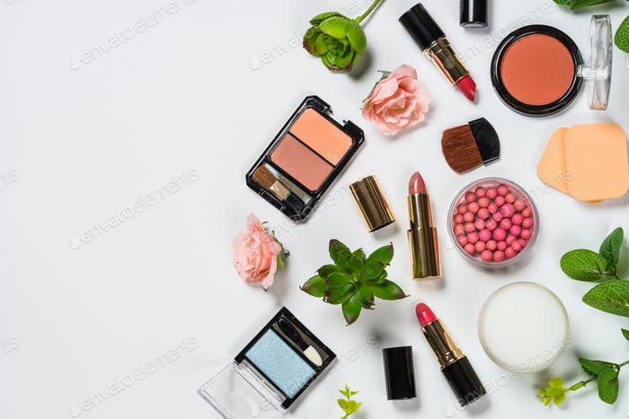 Makeup professional cosmetics on white