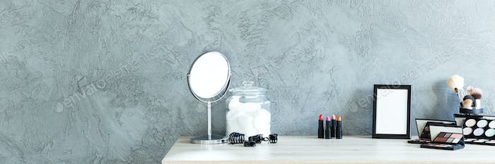 Grey room with makeup table