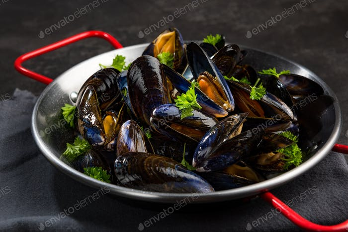 Close View on Mussels in Saucepan, Seafood Healthy Dish