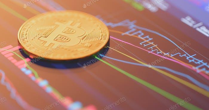 Bitcoin en la pantalla de visualización de la tableta