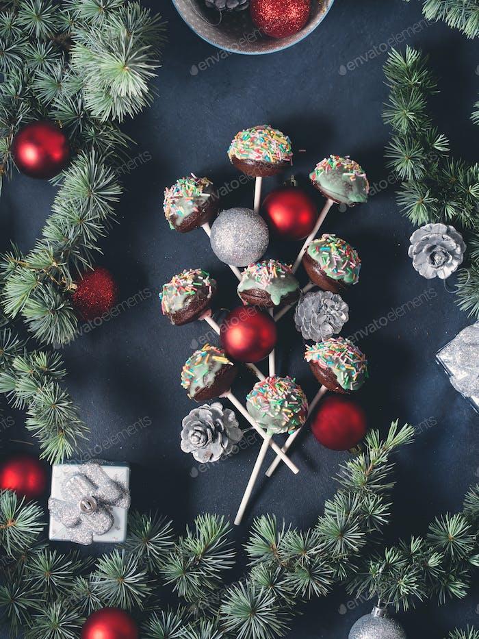 Christmas cake pops tree on black