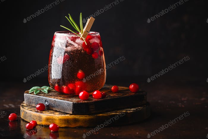 Red cockatil with ice, cranberry and rosemary on the dark background