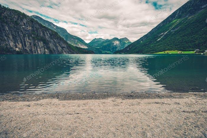 Glacial Lake Beach in Norway