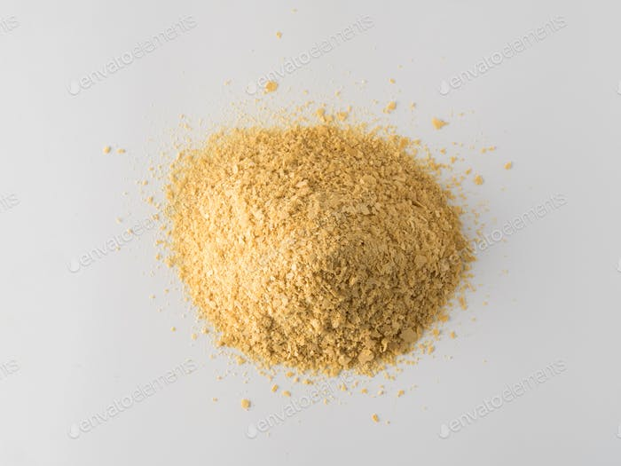Nutritional inactive yeast heap top view