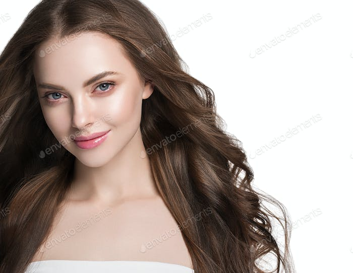 Clean skin long curly hairstyle woman fresh make up