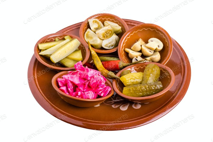 Platter of mixed marinated vegetables.